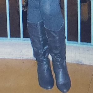 Black Knee high slouchy faux leather boots size 8